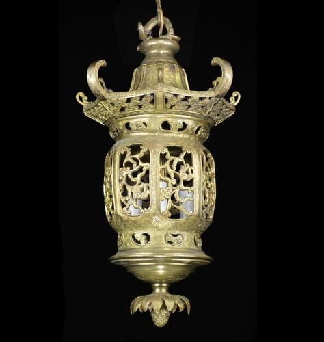 Brass Bronze Lantern Chandelier Light Chinese Japanese