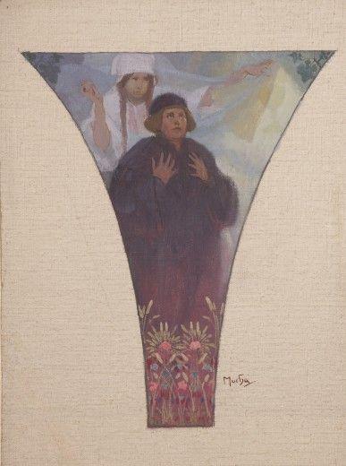 Alphonse Mucha - Justice - Master Jan Hus: study for a pendentive of the Lord Mayor's Hall, Obecní dům, Prague (1910-1911)