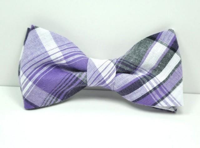 Purple and Gray Plaid Men's Bow Tie, Plaid Bowtie, Groomsmen Tie, Men's Tie