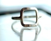 Square ring made from recycled metal. From Studio Jewel, the bead girl on Etsy.: Metals Rings, Silver Squares, Sterling Silver, Rings Open, Open Squares, Silver Rings, Jewelry Rings, Recycled Metals, Squares Rings