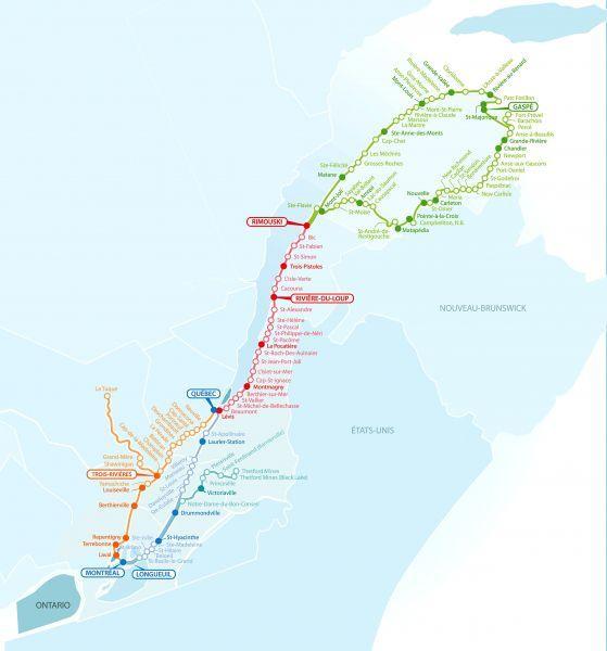 Cette carte montre les réductions de service que veut faire Orléans Express sur son réseau. Les points blancs correspondent aux trajets que la compagnie veut cesser de faire et ceux en couleur sont les trajets qu'elle maintiendrait.