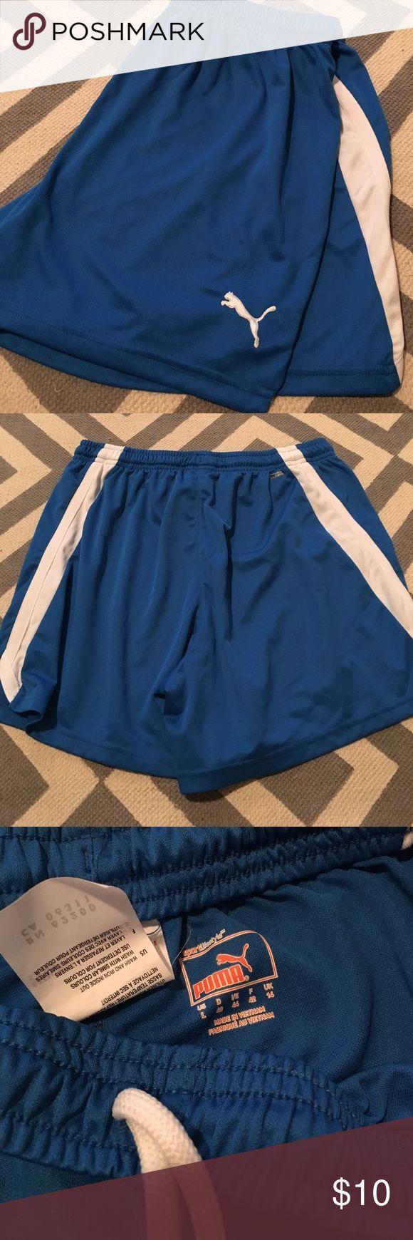 Royal blue puma athletic shorts Royal blue shorts with white stripe down leg.  100% polyester. Drawstring. Puma Shorts