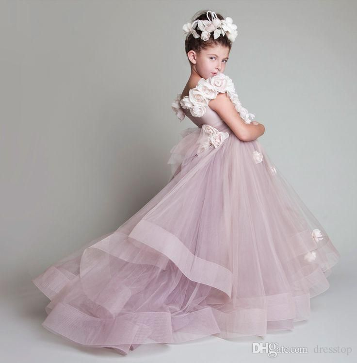 Krikor Jabotian Children Flower Girl Dresses Jewel Neck Tiered Kid Gown Sweep Tran Tulle Little Girl Pageant Dress For Wedding Girls Wedding Dresses Infant Dresses From Dresstop, $71.42| Dhgate.Com