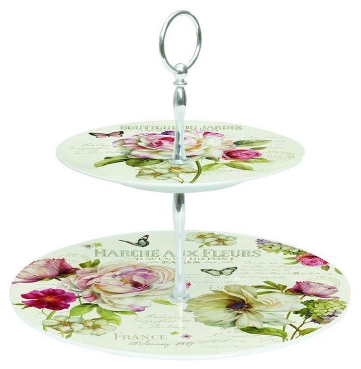 Klasszikus mintájú porcelán süteményes állványok, kínálók, teáskészletek a www.teritettasztal.com-on.