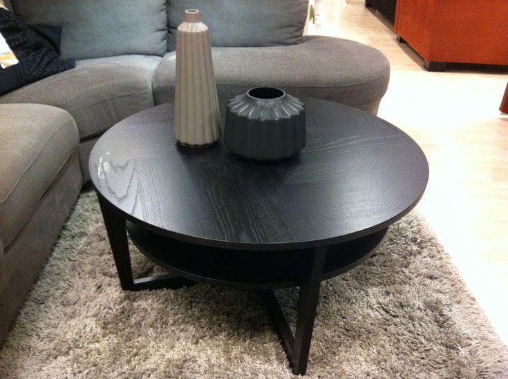 Ikea round wood coffee table revamp pinterest woods for Black round wooden coffee table