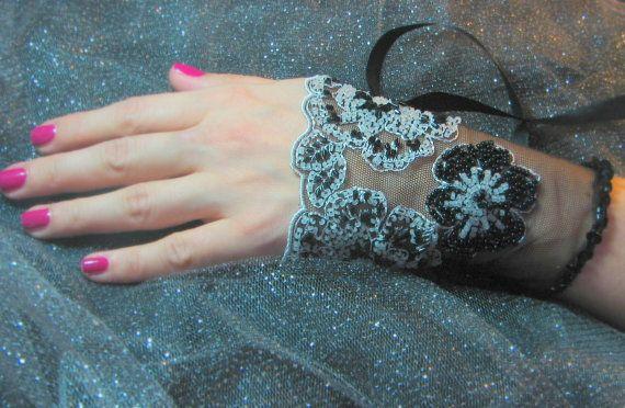 OOAK Hand Beaded Lace Cuff in Black & White by YovankaBlack