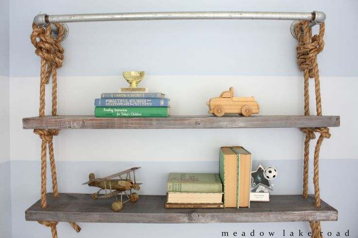 Industrial Pipe and Rope Shelves Inspired by Restoration Hardware - www.meadowlakeroad.com