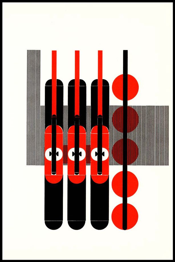 Artwork by Alvin Lustig for a book of poetry, The Ghost in the Underblows (1940) - but does it float