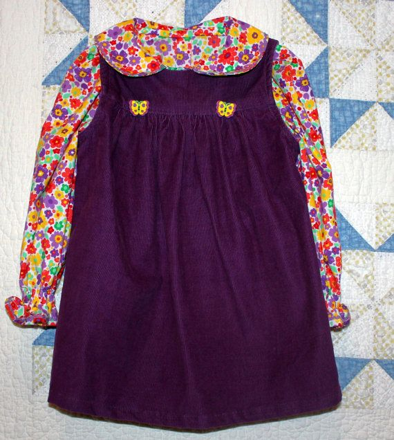 Girl's Size 3 Purple Pinwale Corduroy Jumper by RowesFlyingNeedles