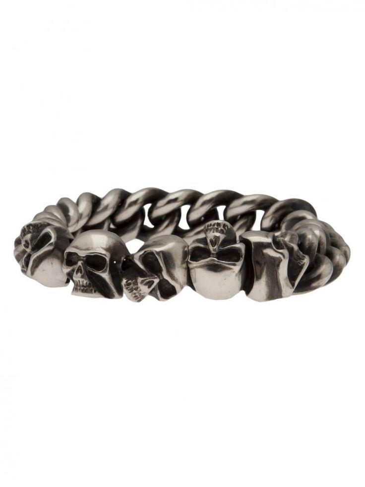WERKSTATT:MUNCHEN - Sterling Silver Skull Chain Bracelet - 13M271 CURB CHAINS SILVER - H. Lorenzo