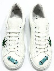 Patch Hollywood white appliquéd leather sneakers