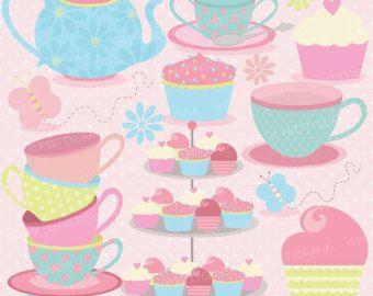 80% OFF SALE tea party kliparty komerční využití, vektorová grafika, digitální clip art, digitální obrázky - CL512