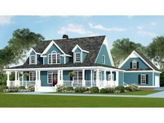 Home Plan HOMEPW07562 is a gorgeous 2482 sq ft, 2 story, 4 bedroom, 2 bathroom plan influenced by + Farmhouse style architecture.