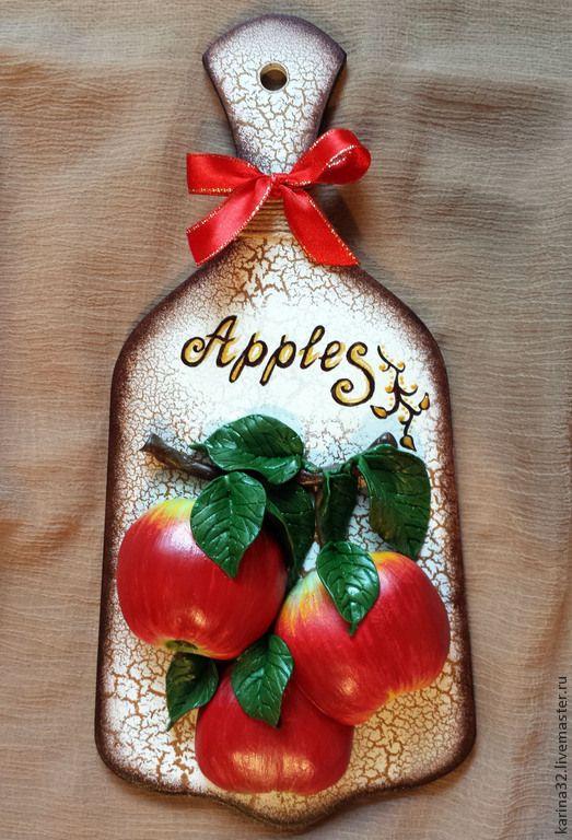 """Купить Декоративная доска """"Яблочки"""" - ярко-красный, декоративная доска, яблочки, панно на стену"""