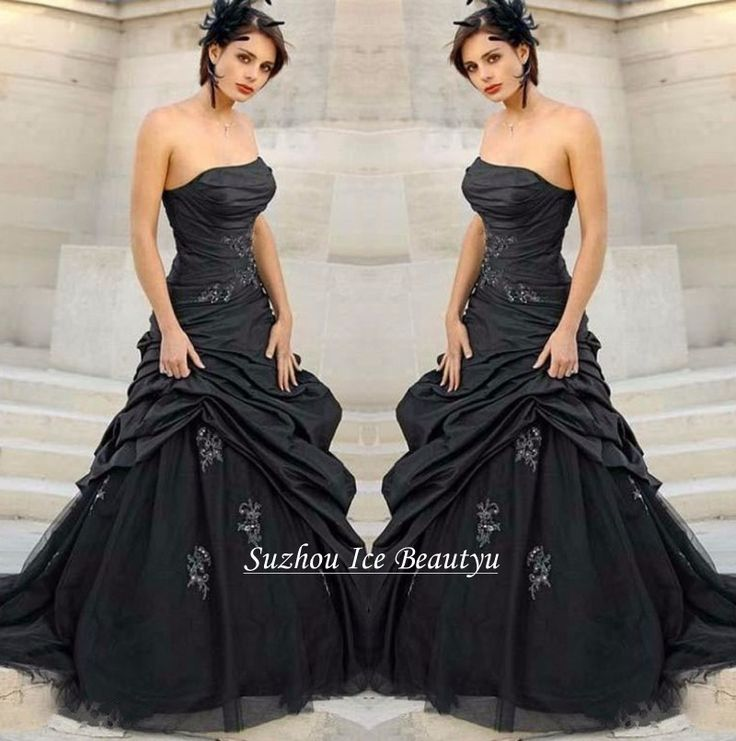 Gothic Wedding Dresses 2016 A Line Strapless Black Taffeta: 1000+ Ideas About Long Black Tulle Skirt On Pinterest