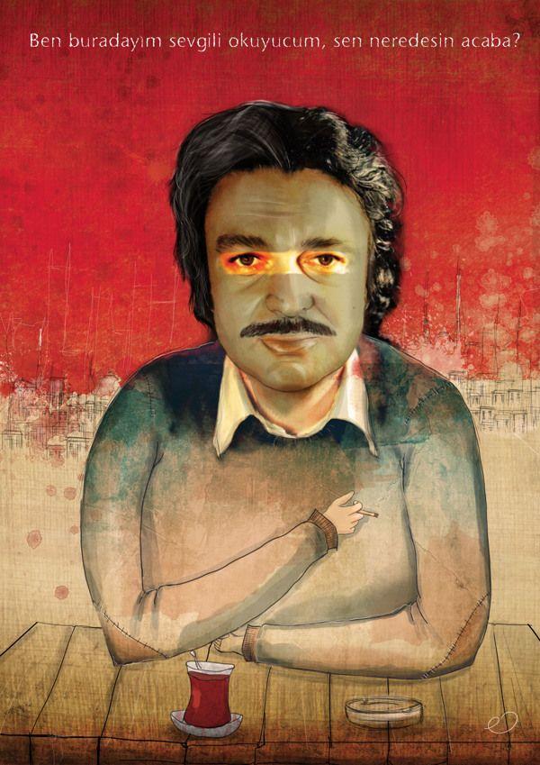 Oğuz Atay * Editorial Illustration by Erhan Cihangiroğlu, via Behance
