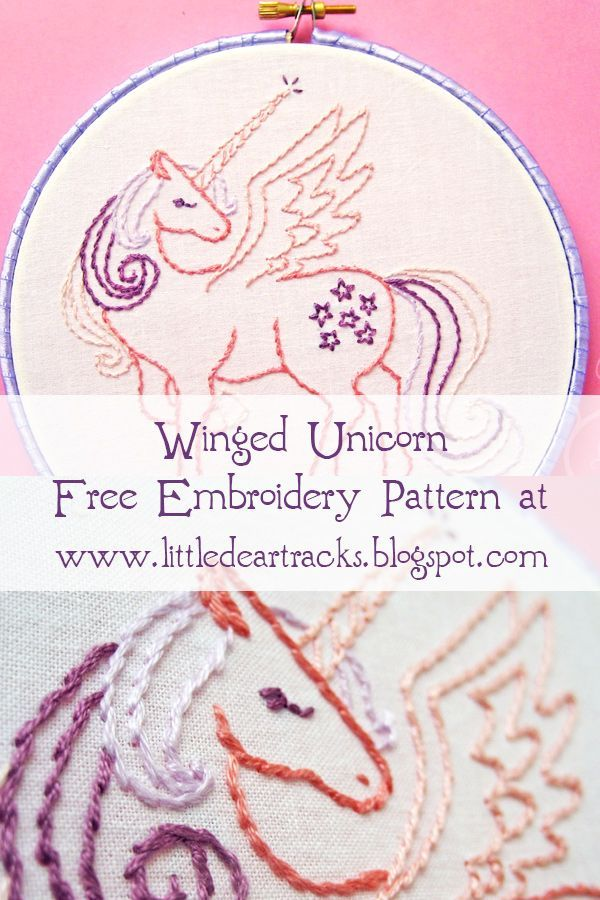 Grab This Free Winged Unicorn Hand Embroidery Pattern From Little Dear And Stitch It Up In Your Favorite My Pony Colors Perhaps