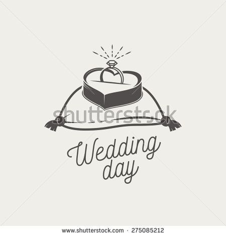 Logo for marriage agency (or wedding salon). Wedding ring with diamond in a heart shaped box lies on a cushion. Vector