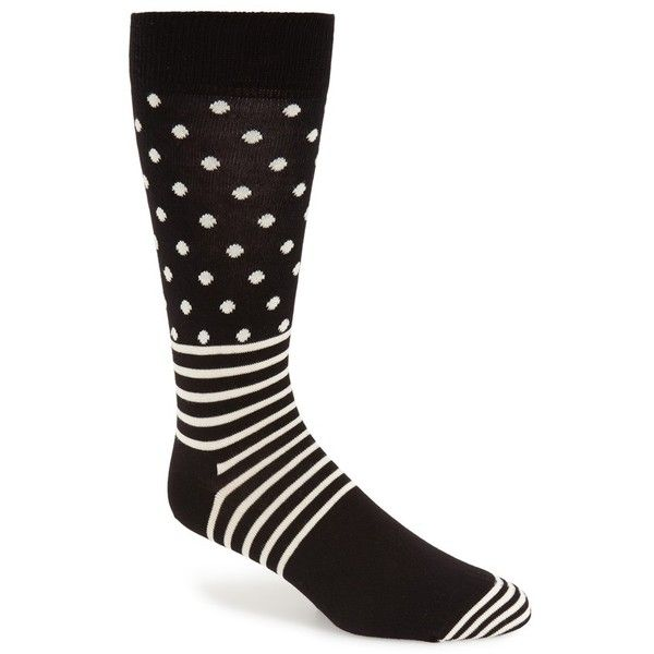Men's Happy Socks Stripes & Dots Crew Socks (38 BRL) ❤ liked on Polyvore featuring men's fashion, men's clothing, men's socks, mens striped socks, mens socks, mens polka dot socks and mens crew socks