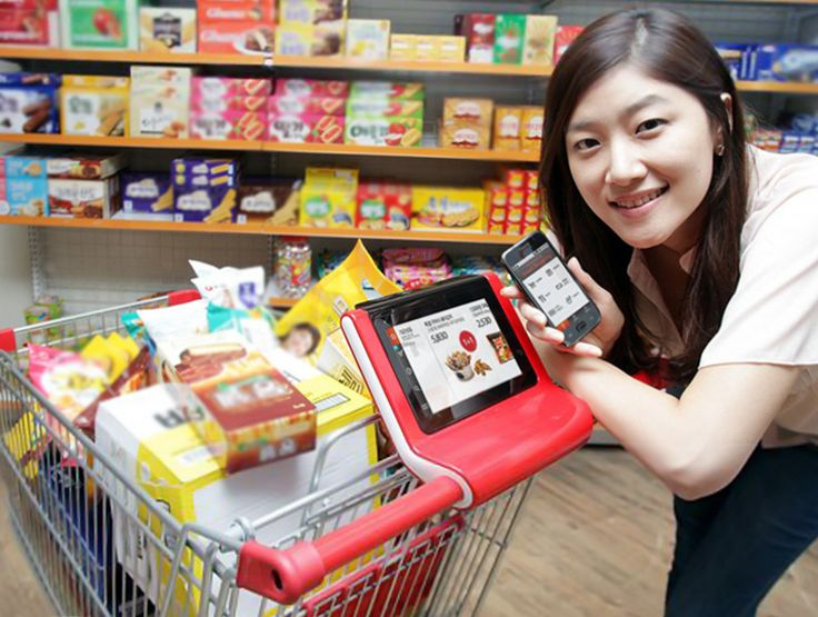 smart shopping cart by SK telecom - pilot testing of a 'smart cart' program in china's shanghai lotus supermarket with a shopping art service that integrates with smartphones to provide store and product information tailored to user's needs.