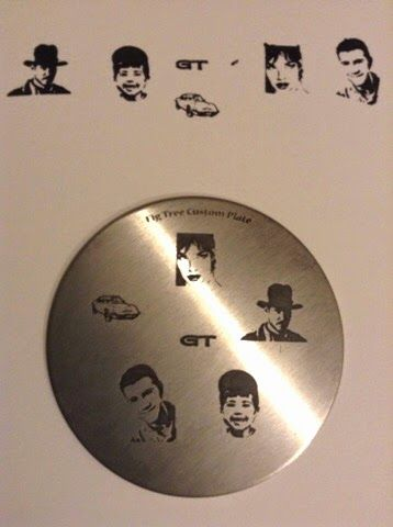 My very own custom stamping plate, featuring son aged 3 and 18, Modesty Blaise, Indiana Jones and my vintage car (Opel GT) and its logo. LOVE it! :)