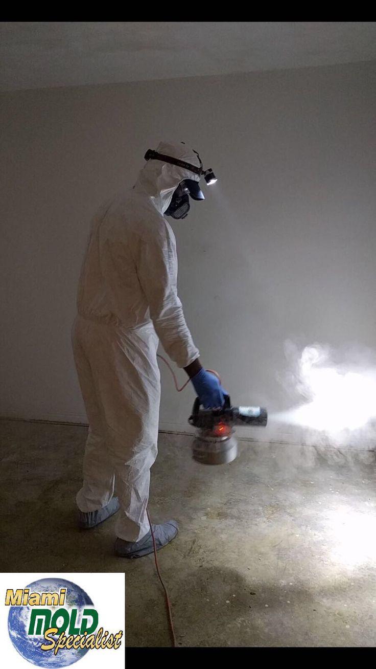 Técnico especializado con su equipo de protección personal a el interior de una vivienda contaminada con altos niveles de humedad y hongo durante la aplicación del Thermal Fogging o nebulizador térmico para la purificación y erradicación del hongo en el ambiente.