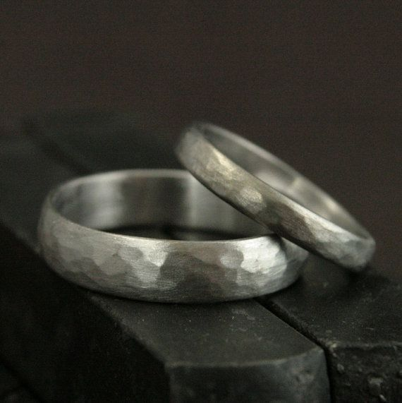 White Gold Wedding Bands--His and Hers 14K Gold Hammered Wedding Rings--Rustic Wedding Band Set--White Gold Perfect Hammered Bands--Recycled