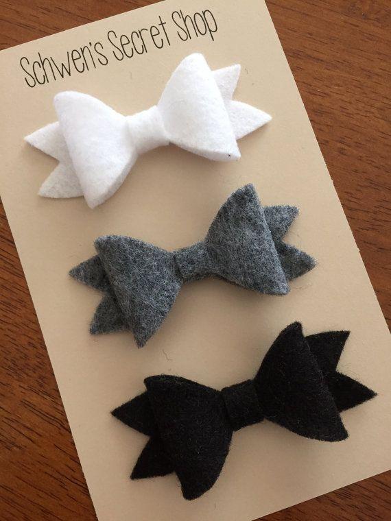 white black and grey felt bows, felt headbands, baby girl headbands