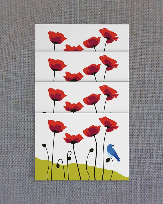 Poppies & Mountain Bluebird Blank Card Set of 4 by PoppyPrinting