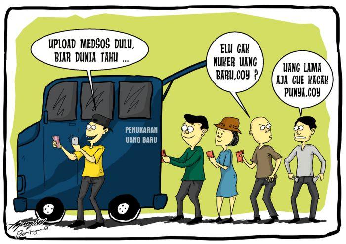 UANGGGG! | Bank Indonesia menurunkan mobil penukaran uang baru di Bandung, Jawa Barat, sampai akhir Desember 2016. Dengan maupun tanpa telolet, semua orang butuh uang -- terutama uang yang laku.