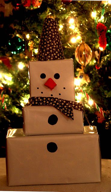 boxes into snowman Christmas wrapping