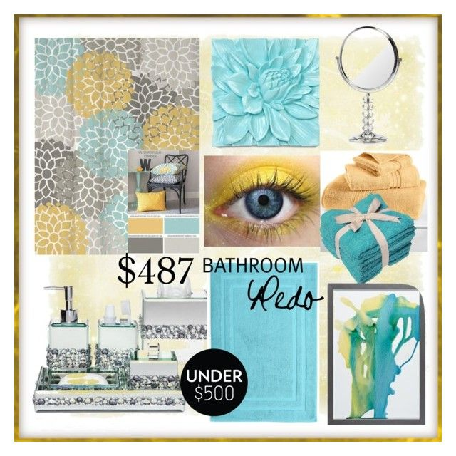"""Blue and Yellow Bathroom"" by calamity-jane-always ❤ liked on Polyvore"