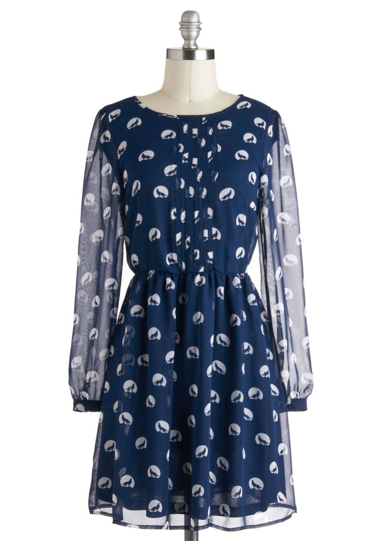 When, Where, and Howl Dress by Sugarhill Boutique - Blue, White, Print with Animals, Pleats, Casual, A-line, Long Sleeve, Fall, Mid-length, International Designer