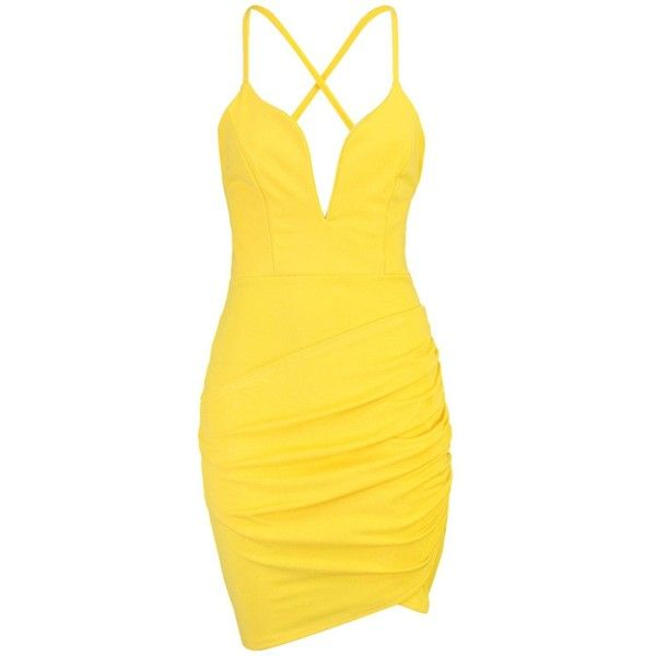 Boohoo Giana Plunge Neck Wrap Bodycon Dress | Boohoo ($21) ❤ liked on Polyvore featuring dresses, body con dresses, jersey maxi dress, wrap maxi dress, yellow dress and midi dress