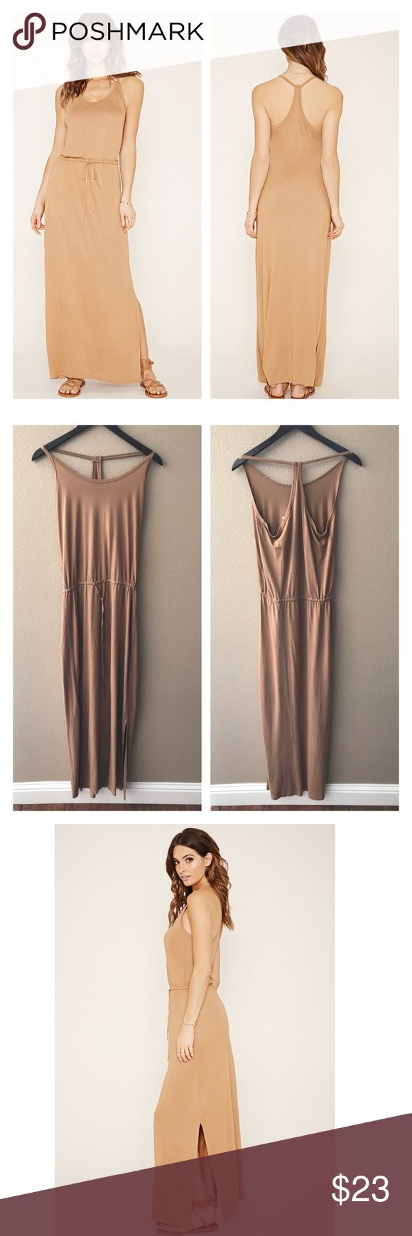 """Race back cami maxi dress Very soft jersey like quality material knit maxi dress features cami straps, a racerback, a round neckline, and an elasticized waist. Camel color. Runs like a size 8. From the contemporary line. Bust 38"""", waist 28-30"""", length 60"""". Rayon & spandex. NWT medium. Forever 21 Dresses Maxi"""