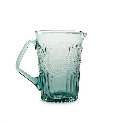 Waterkan blauw Afbeelding Fleur de Lys Portugees glas. Van Verre