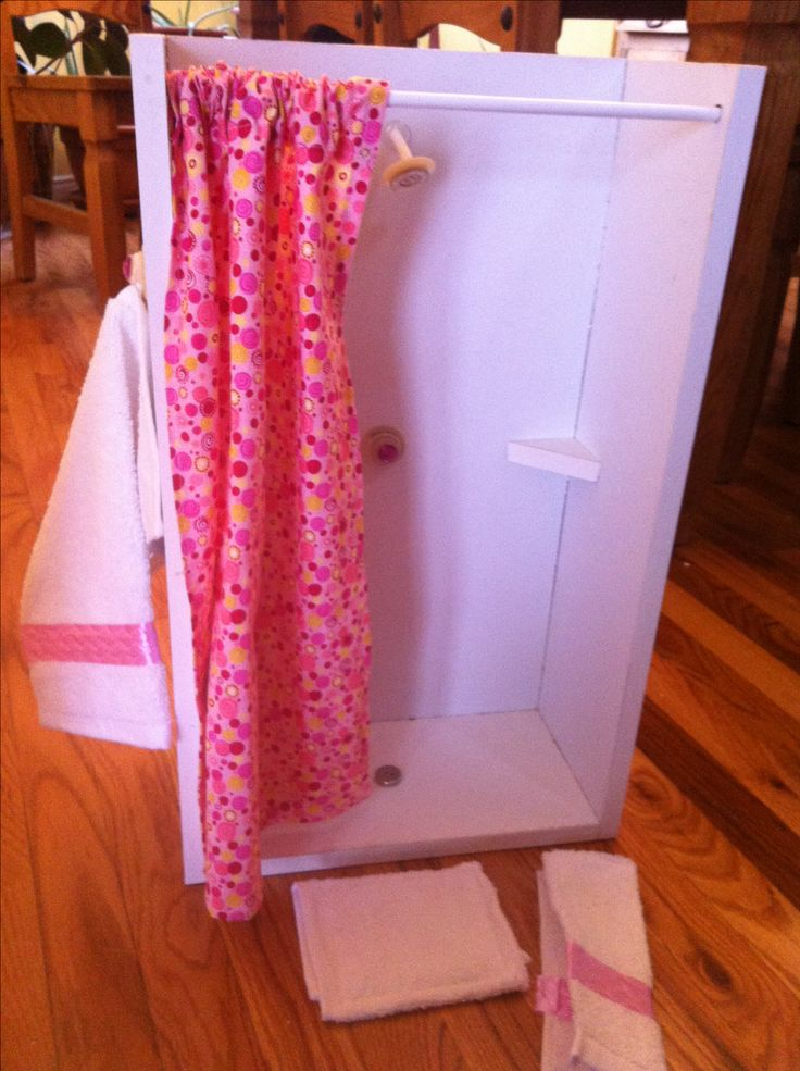 "another pinner said ""18 inch doll shower and matching towels and bath may I made"""
