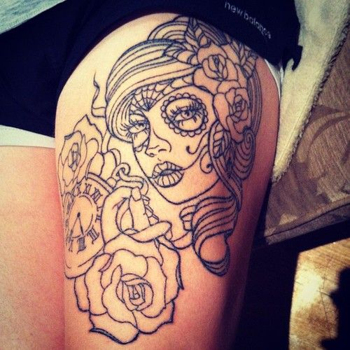rose tattoos with skull | thigh tattoo tattooed girl sugar skull sugar skull tattoo rose tattoo ... I want to incorporate something like this into my hip piece.