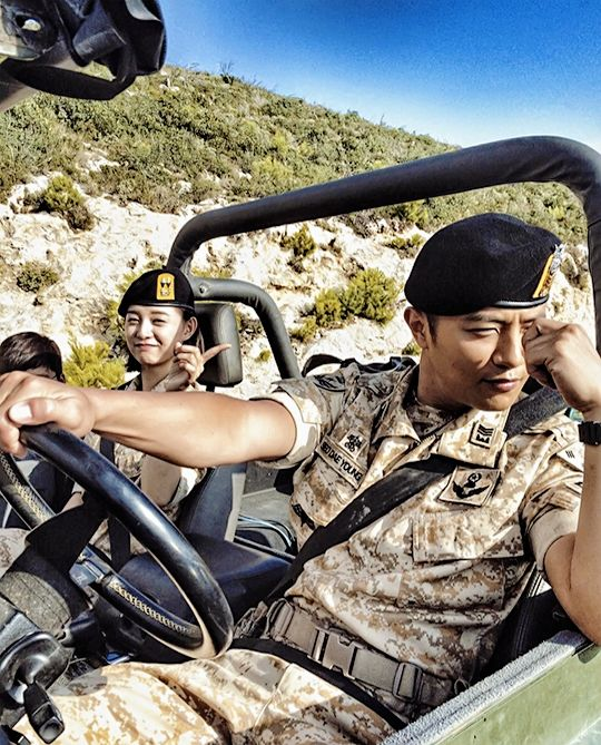 BTS ~ too cute! #descendants of the sun #jin goo #kim ji won