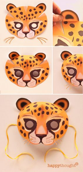 Make this fab Leopard mask with Happythought printable mask template! Download your wild animal masks here: https://happythought.co.uk/product/printable-wild-animal-masks