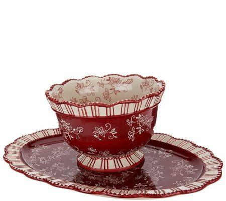Temp-tations Floral Lace 2 qt. Bowl with Platter — QVC.com