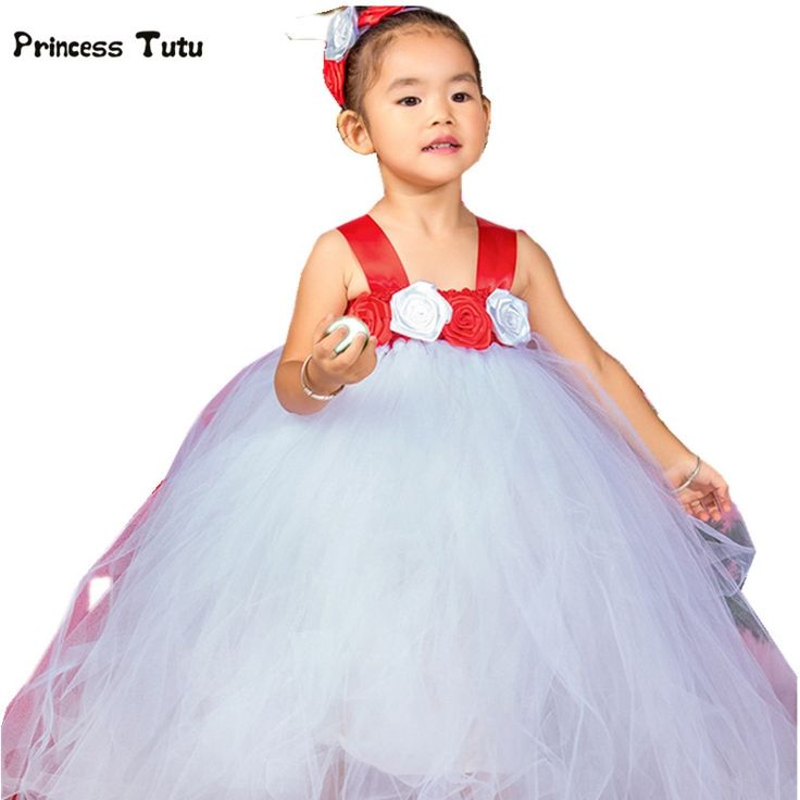 26.18$  Watch now - http://alifkr.shopchina.info/go.php?t=32569946406 - 2017 New Kids Girls Christmas Tutu Dress Flowers Princess Costumes Handmade Christmas Party Prom Performance Ball Gown Dresses 26.18$ #buyonline