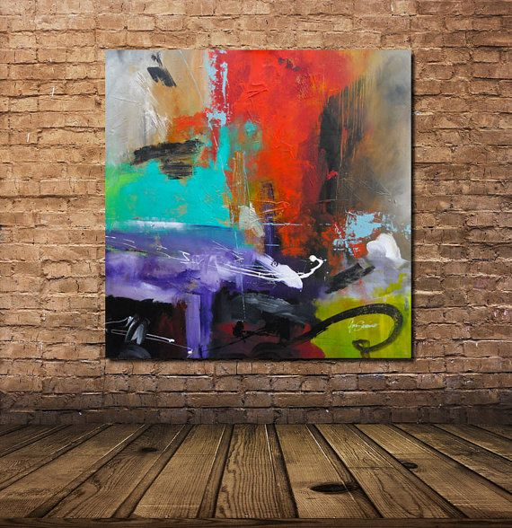 Artículos similares a Large Original Modern Abstract Painting Contemporary Fine Art Red Purple gallery Canvas Hand Painted Big by GINO SAVARINO en Etsy