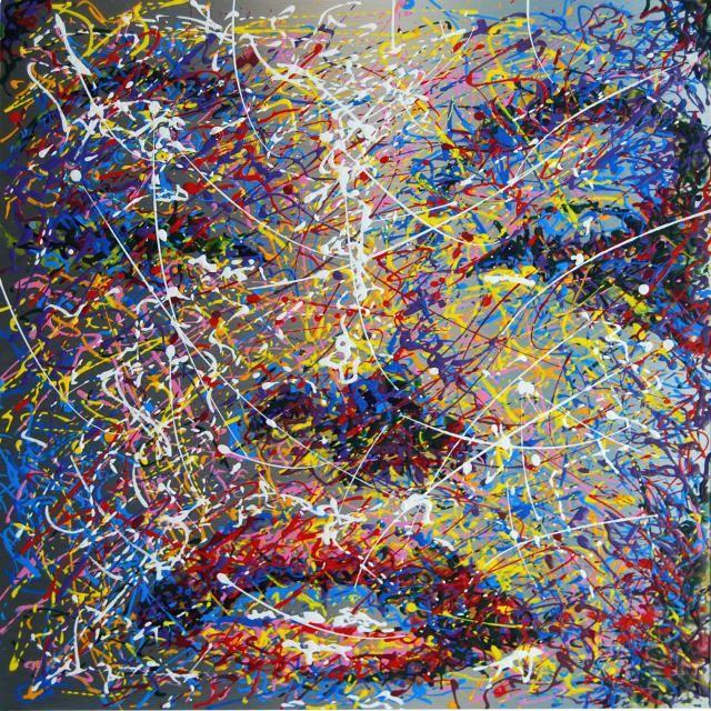 """""""AVA GARDNER"""" Pittura, Ritratto, Vernici industriali / Smalti, Lamiera metallo, 36x36cm, 2012"""