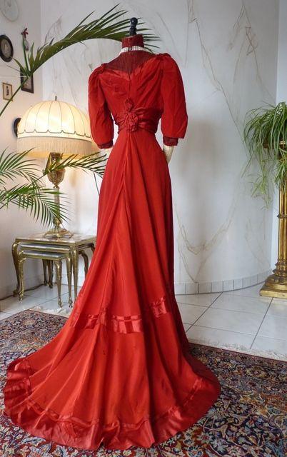 Edwardian Red Silk Gown, circa 1910.