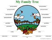 Family Tree con linee a colori