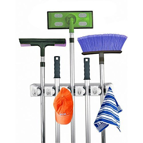 Home- It Mop and Broom Holder, 5 position with 6 hooks garage storage Holds up to 11 Tools, storage solutions for broom holders, garage storage systems broom organizer for garage shelving ideas Home-it http://smile.amazon.com/dp/B00EJU3SWY/ref=cm_sw_r_pi_dp_CvUexb0Y89DC0