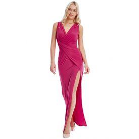 vestido largo fucsia cruzado