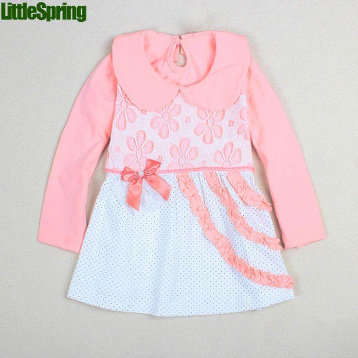 Новое прибытие дети платье весной и осенью с длинными рукавами радуга кружева лук девочки платья детская одежда детские платья