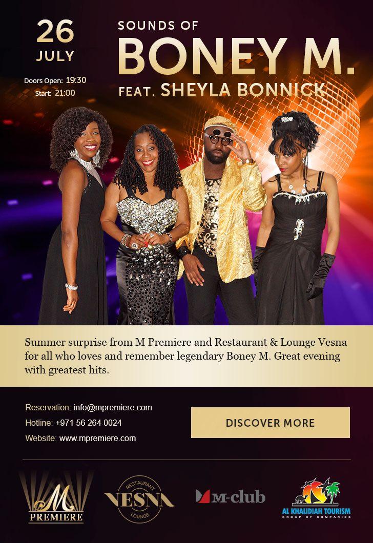Email letter about Boney M concert in Dubai.Online preview: http://mpremiere.com/emails/11-boneym-en/#tokki_team, #tokki_team_portfolio, #webdesign, #email